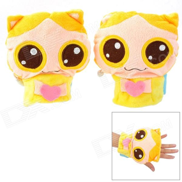Cute Cartoon USB Power Hands Warmer Plush Gloves - Pink + Yellow + Blue (Pair / DC 5V) cute bear paw plush gloves winter warm thermal children knitted gloves full finger mittens cartoon gloves