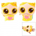 Cute Cartoon USB Power Hands Warmer Plush Gloves - Pink + Yellow + Blue (Pair / DC 5V)