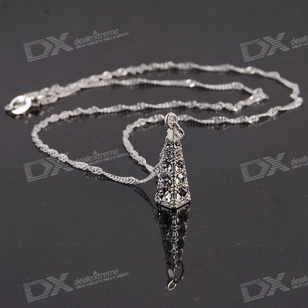 925 Silver Plated Necklace with Stylish Clear Stone Pendant
