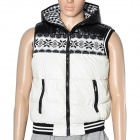 Fashion Men's Hooded Vest Cotton Warm Coat - Black + White