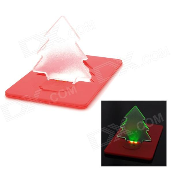 SXH-sdd001 Creative Ultra-Thin Christmas Tree Shaped 2-LED Green Light Card Lamp - Red (1 x CR1220) 30 pcs lot christmas decoration christmas tree postcard landscape greeting card christmas card birthday card message gift cards