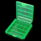 Protective PP Plastic Storage Case for 4 x AA / AAA Batteries - Translucent Green