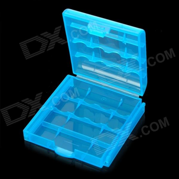 Protective PP Plastic Storage Case for 4*AA / AAA BatteriesStorage Supplies<br>ModelNoQuantity1ColorTranslucentQuantity1ColorTranslucentForm  ColorBlueMaterialPPFeaturesProtectsPacking List<br>