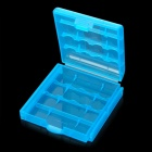 Protective PP Plastic Storage Case for 4 x AA / AAA Batteries - Translucent Blue