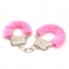 Stainless Steel + Furry Lovers Handcuffs - Silver + Pink