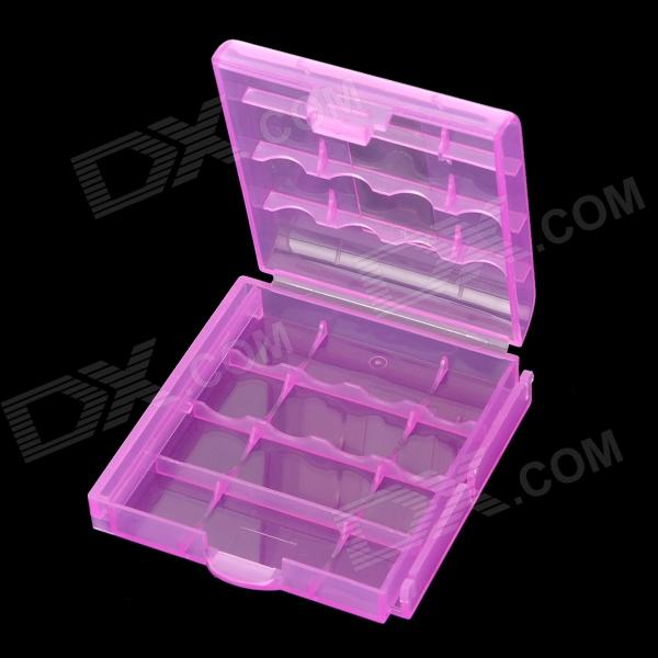 Protective PP Plastic Storage Case for 4 x AA / AAA Batteries - Translucent Purple