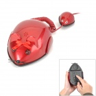 Cute Mouse Style Single Telephone w/ Magic Tape - Wine Red (1.1m-Cable)