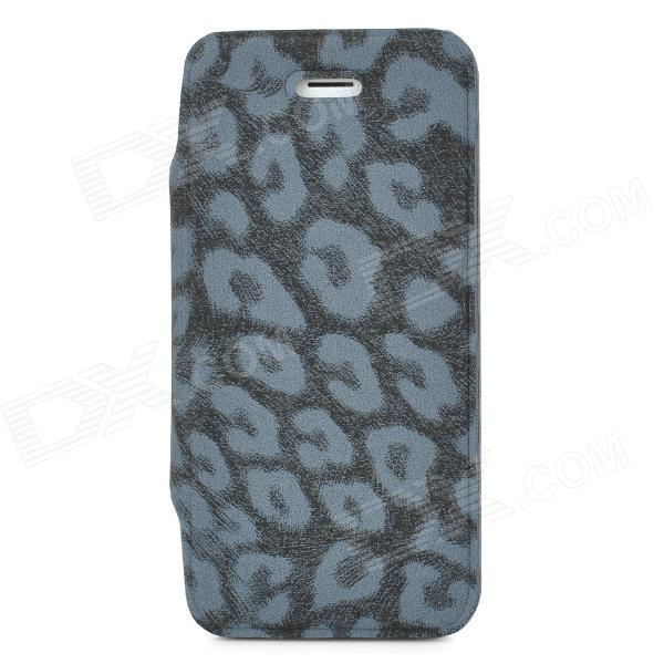 где купить Leopard Pattern Protective Flip-Open PU Leather Case for Iphone 5 - Black + Grey дешево
