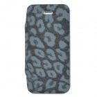 Leopard Pattern Protective Flip-Open PU Leather Case for Iphone 5 - Black + Grey