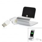 Data Sync / Charging Dock Stand w/ Retractable Lightning 8Pin Cable for iPhone 5 - Silver