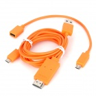 Universal Micro USB MHL to HDMI Male HD Video Adapter Cable w/ 5Pin to 11Pin Cable - Orange