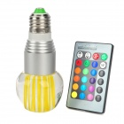 E27 3W RGB Multicolored Crystal LED Bulb Lamp w/ 24-Key remote control (85~265V)