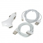 3-In-1 Y Shaped 2-USB Car Charger + 8 Pin Lightning / Apple 30 Pin Data & Charging Cable - White