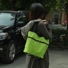 Multifunction Oxford Fabric Shopping Shoulder Bag w/ Wheels - Green