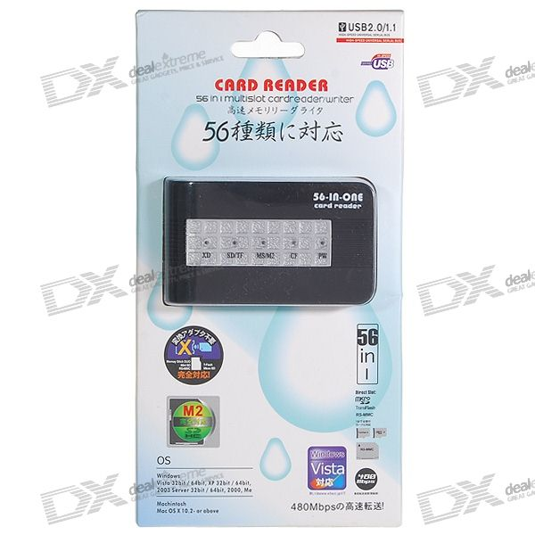 56-in-1 USB 2.0 SDHC SD/MMC/RS-MMC/XD/MS/M2/TF Card Reader with USB Cable (Black)