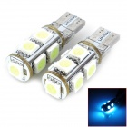 SENCART T10 1.8W 117lm 540nm 9-SMD 5050 LED Ice Blue Decoration Lamp Bulbs (DC 12V / 2 PCS)