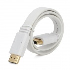 Flat HDMI Male to Male Connection Cable w/ 90 Degree HDMI Male to Female Adapter - White (50cm)