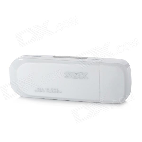 SSK SCRM-060 Multi-in-One USB 2.0 Card Reader for SD / MS / Micro SD / TF - White