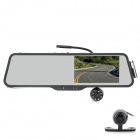 "LSON LS516 5"" TFT LCD Rearview Mirror HD Wide Angle Car DVR Camcorder w/ 7-IR LED / TF - Black"