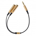3.5mm Male to Dual Female Splitter Cable - Black + Golden (23cm)
