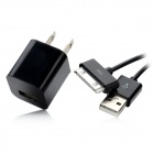 USB to 30pin Data Transmission & Charging Cable + USB US Plug Power Adapter - Black