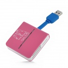 G-C3329 Super Speed USB 3.0 Multi-in-One Card Reader for TF / SD / MMC / MS - Deep Pink + Blue