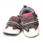 Fashion PU Leather Male Baby Shoes - Black + White + Red (Pair)