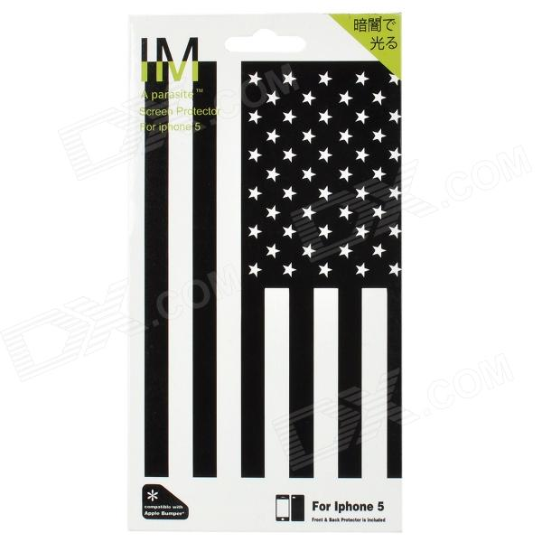 E-037 American Flag Pattern Luminous Front + Back Guard Film Protector for Iphone 5 - Black