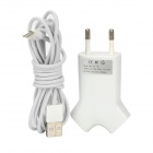 Dual USB AC Power Charger Adapter w/ USB to Lightning Cable for iPhone 5 / iPad 4 - White (EU plug)