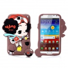 Cute 3D Ddung Style Protective Soft Silicone Back Cover Case for Samsung N7100 - Brown