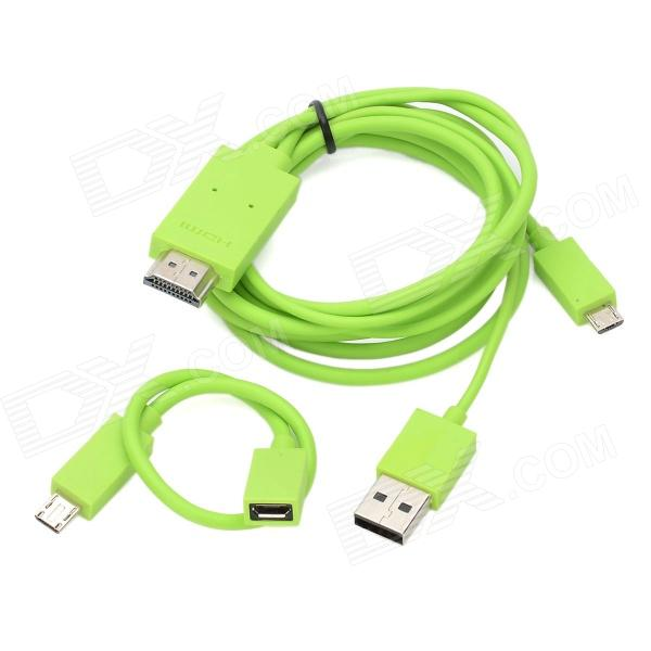 Universal 1080p HD MHL Micro USB 5Pin / 11Pin to HDMI Cable - Green (1.2m) - DXCables<br>Quantity: 1 - Color: Green - Material: ABS - Cable length: 120cm - Connector: Micro USB 5pin / 11pin to HDMI - Mini adapter to put your mobile phone video picture output to HDTV display projector - Resolution: 1920 x 1080 / 60Hz full format - Support audio: 192KHz compatible with the latest standard 7.1 track LPCM (line pulse code modulation) surround and compressed audio - Powered by 5V USB - Input port: Micro USB 5pin / 11pin male - Power supply port: USB - Suitable for Samsung / HTC support MHL agreement for mobile phone and tablet PC - Packing list: - 1 x MHL HDMI cable - 1 x Micro USB 5pin to 11pin cable<br>