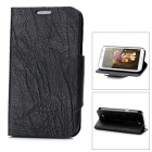 Bark Grain Style Protective PU Leather Case for Samsung Galaxy Note II N7100 - Black