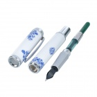 Exquisito Azul y Blanco Porcelana Iraurita Fountain Pen - Blanco + Azul