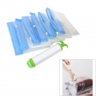 Storage Compression Seal Vacuum Bag Set w/ Manual Air Pump - Blue + Transparent
