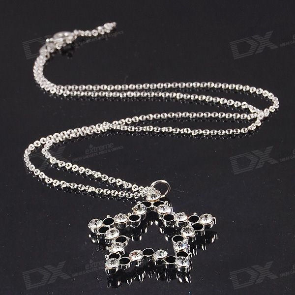 925 Silver Plated Neclace with Stylish Star Shaped Pendant in Black & White Stone