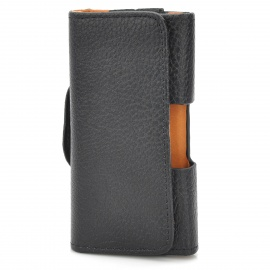 Lichee Pattern Protective PU Leather Case w/ Clip for Iphone 3gs / 4 / 4S - Black