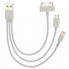 USB Male to Micro USB + 8 Pin Lightning + 30 Pin Male Data Cable for iPhone 5 - White (15cm)