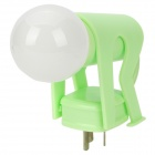 Human Shape Energy-Saving Sensor Bulb w/ 3-Flat-Pin Plug - Green (AC 220V)