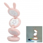 Portable Rabbit Style USB Folding White 15-LED Desk Lamp Table Light - Pink