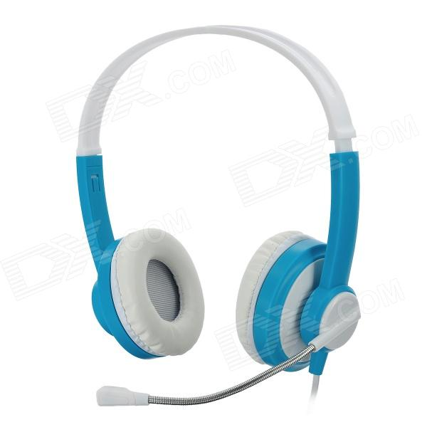LoTong LH871 Stereo Headphones w/ Mic + Volume Control - Blue + White (3.5mm Plug / 180cm-Cable)