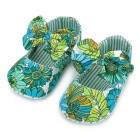 Jungle Pattern Bowknot Princess Shoes for Baby - Green (11cm-Length)
