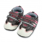 PU Leather Toddler Baby Boy Casual Sneaker Shoes - Brown + White + Red (11cm-Length)