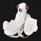Cute Dog Style Wired Telephone - White + Black
