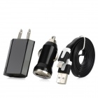 3-in-1 2-Flat-Pin Plug Power Adapter + Car Charger + 8 Pin Lightning Flat-Ladekabel - Schwarz