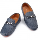 Shengkang 7429 Ostrich-Skin Pattern Outdoors PU Leather Shoes for Men - Deep Blue (Size 42)