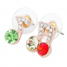 MaDouGongZhu R128-1 Music Note Shaped Alloy Rhinestone Stud Earrings - Multicolored (Pair)