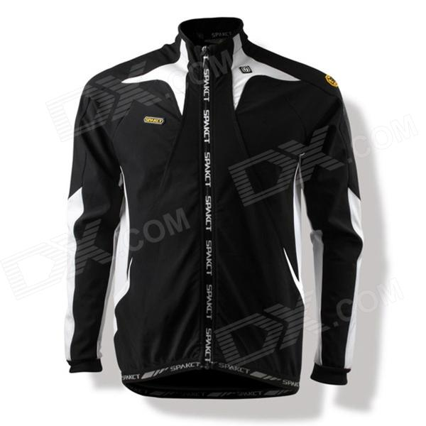 SPAKCT C6 Cycling Polyester + Fleeces Long Sleeve Coat w/ Mesh Zipper Bag - Black + White (Size XL) spakct s13c02 fashion cycling round collar polyester short sleeve coat black red size xxxl
