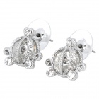 MaDouGongZhu R120 Pumpkin Vehicle Shaped Zinc Alloy / Rhinestone Stud Earrings - Silver (Pair)