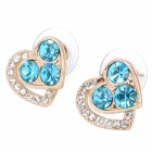 MaDouGongZhu R074-1 Heart Shaped Alloy / Rhinestone Stud Earrings - Gold + Sea Blue (Pair)