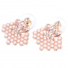 MaDouGongZhu R093 Pearl Style Crown Shaped Alloy Rhinestone Stud Earrings - Gold + White (Pair)